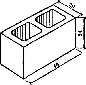 Бетонные блоки размером 20X24X44 см.